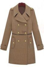 Camel Wide Lapel Double Breatsed Zipper Embellished Wollen Coat $107  #SheInside