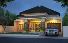 Modern Bungalow House Plans, Modern Exterior House Designs, Minimalis House Design, Model House Plan, House Front Design, Facade House, Tropical Houses, Home Fashion, Architecture Design