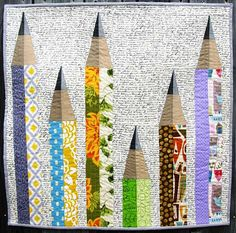 PENCIL ME IN Art Quilt Pattern  25 x 25 62.5 von CutStitchandPiece