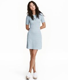 Check this out! Short, fitted, jacquard-knit dress in soft viscose-blend fabric with short sleeves and gently flared skirt. Unlined. - Visit hm.com to see more.