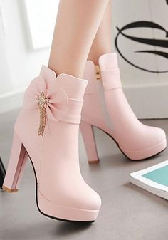 Nordstrom Heels - New Women Pink Round Toe Chunky Bow Fashion Martin Boots Find . - Nordstrom Heels – New Women Pink Round Toe Chunky Bow Fashion Martin Boots Find More Ideas at myc - Fancy Shoes, Pretty Shoes, Beautiful Shoes, Me Too Shoes, Cute Shoes Heels, Shoes Heels Wedges, Zara Shoes, Women's Shoes, Shoes Sneakers