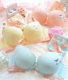 button decoration cute lolita underwear bra set cotton cartoon style 2015 young girl intimates