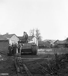 An American patrol in La Gleize Belgium during the major German offensive of World War II which came to be known as the Battle of the Bulge 16th...