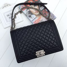 Chanel new style black ball grain leather with ancient caviar bag 67087 size:31x21x9cm QC1 whatsapp:+8615503787453