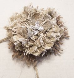 How to make Shabby Flowers-tie back for drop cloth curtains or great for gift wrapping!