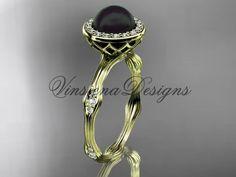 14k yellow gold pearl,diamond, halo engagement ring VFBP301011