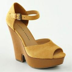 I was just given a pair of these in periwinkle with cork heels <3