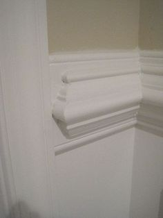 Chair Rail Molding, Wall Molding, Molding Ideas, Staircase Molding, Moulding, Picture Frame Wainscoting, Wainscoting Ideas, Bathroom Wainscotting, Installing Wainscoting