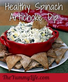 Healthy Spinach Artichoke Dip  At under 100 calories per 1/4 cup yumm, I must try this.