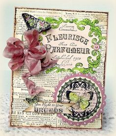JustRite card designed by Melissa Bove using Fleuriste Newsprint Background Stamp and Botanical Butterflies.