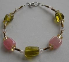 Original Handmade Rose, Olive Glass and Twisted Bugle Bead Bracelet with Spring Ring Clasp Size - 8""
