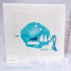 papierZART: Winterwelt, Winterwonderland, Weihnachtskarte, Schneefall, Schnee im Tannenwald, Alexandra Renke, aRTeam