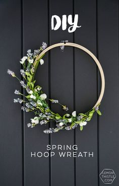 DIY Spring Hoop Wreath I love this simple spring hoop wreath! Perfectly spring-y without being over the top.I love this simple spring hoop wreath! Perfectly spring-y without being over the top. Pot Mason Diy, Mason Jar Crafts, Diy Wreath, Diy Spring Wreath, Spring Crafts, Embroidery Designs, Diy Embroidery, Embroidery Hoop Decor, Embroidery Tattoo