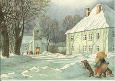 The Church of Drøba by Midthun Christmas Illustration, Children's Book Illustration, Santa Paintings, Scandinavian Christmas, Norwegian Christmas, Baumgarten, Gnome House, Winter Magic, Vintage Artwork