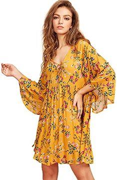 Amazon.com: sari dress indian casual Sari Dress, Smock Dress, Boho Dress, Tunic, Kimono, Dresses To Wear To A Wedding, Short Mini Dress, Bell Sleeve Dress, Sleeve Dresses