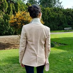 Image may contain: one or more people, people standing, tree, outdoor and nature People People, Sewing Ideas, Collars, Contrast, Buttons, Blazer, Detail, Fabric, Nature