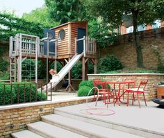We've been thinking a lot about how we may have to incorporate a future play structure into our yard.  Love this one! http://littlegreennotebook.blogspot.com/2012/03/thinking-about-upholstered-doors.html