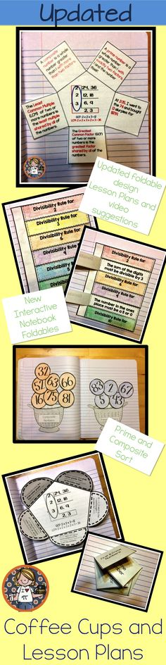 Interactive Notebook Activities for Prime Numbers, Least Common Multiple, Greatest Common Factor, Divisibility Math For 6th Graders, Sixth Grade Math, Math Notebooks, Interactive Notebooks, Lcm And Gcf, Prime Factorization, Math Classroom, Future Classroom, Maths