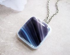 Fused Glass Pendant #Necklace, purple plum. this is a simple and beautiful design to make