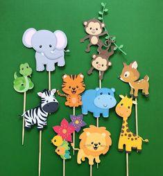 Animales de la selva cupcake toppers, animales del zoológico toppers, animales salvajes toppers, gimnasio de la selva, toppers mono, jirafa. hipopótamo, ciervo, cebra, león, serpiente  Estos lindos y amigables toppers de animales de la selva / zoológico son perfectos para la fiesta de cumpleaños de