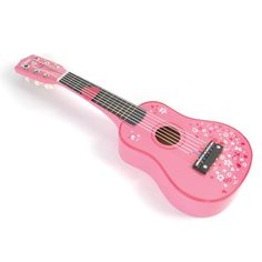 Delightful wooden pink guitar features 6 nylon strings that can be tuned. Complete with a plectrum for strumming. So easy for little hands to hold! Wooden Dollhouse, Wooden Dolls, 4 Year Old Toys, Kids Wooden Play Kitchen, Musical Toys For Kids, Pink Guitar, Activity Toys, Electronic Toys, Pretend Play