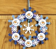 snowmen & snowflakes   Christmas paper wreath - paper craft pattern