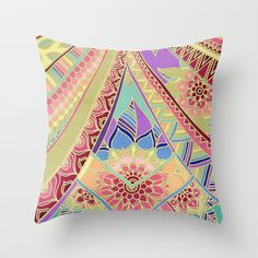 Rise and Shine - Rainbow Hued, Multi-Colored Doodle Throw Pillow