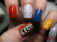 Lego my nails!! Ha, what little kid wouldn't love to see little lego bricks on your nails? :)