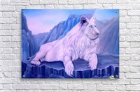 Acrylic Print,  mountains,wildlife,white,lion,nature,scene,animal,big,cat,mamal,rocks,cliffs,blue,beautiful,image,fine,oil,painting,contemporary,scenic,modern,virtual,deviant,wall,art,awesome,cool,artistic,artwork,for,sale,home,office,decor,decoration,decorative,items,ideas