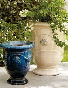 Urn-shaped and adorned with garlands and medallions, these ceramic planters are a staple in French gardens. Hand-glazed in Sand or Jade, our Anduze Indoor/Outdoor Planters can stand alone as pottery pieces or complement your chosen plantings.
