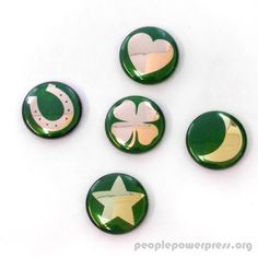 These custom lucky charm buttons might just bring a little luck your way. Button Badge, Lucky Charm, Favorite Holiday, Festive, Patches, Buttons, Happy, People, Collection