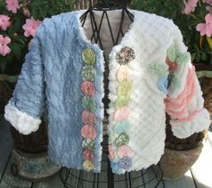 Blue, White, and Pink Chenille Jacket with White Chenille Inside - 3 to 4 yrs. - J261
