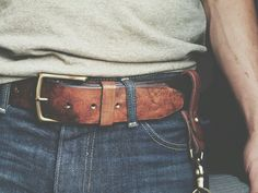 """craftandlore: """" The Mountain Belt. Antiqued harness leather belt and a solid brass buckle. Custom Leather Belts, Wide Leather Belt, Leather Men, Gents Fashion, Dope Fashion, Fashion Styles, Work Belt, Tan Belt, Burberry Men"""