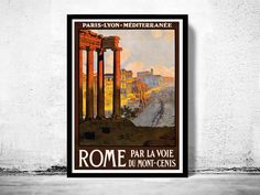 Vintage Poster of Rome Italy Italia 1920 Tourism by OldCityPrints