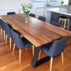 Modern Rustic Dining Table, Wooden Dining Table Designs, Dinning Table Design, Modern Kitchen Tables, Timber Dining Table, Wooden Dining Tables, Dining Table In Kitchen, 8 Seater Dining Table, Dining Chairs