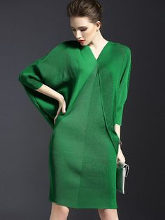 Multi-colored Bat Sleeve Bodycon Dress