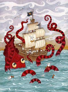Kraken Giant Squid Pirate Ship Art Print by SepiaLepus ... possible bathroom art.
