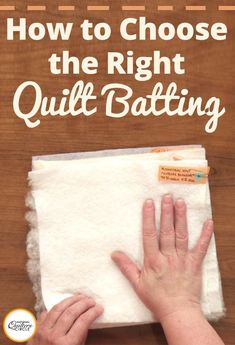 Starting a new quilt? Need to know which type of quilt batting to use? Get some helpful hints on selecting quilt batting. Quilting For Beginners, Quilting Tips, Quilting Tutorials, Machine Quilting, Quilting Projects, Sewing Tutorials, Sewing Projects, Sewing Ideas, Beginners Sewing
