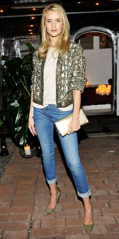 Rosie Huntington-Whiteley - street style wearing Isabel Marant jacket from the S/S 14 collection; Isabel Marant denim jeans; Saint Laurent Cassandre gold Leather Clutch; Isabel Marant Pippa Simple Pony Pumps