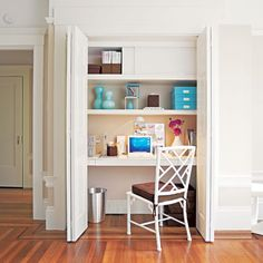 This compact home office is a great DIY gift idea for yourself or a loved one. Carve one out from a seldom-used closet by removing the existing rod and following these tips...