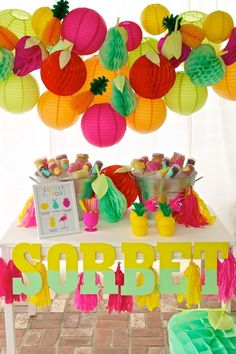 Fruity-Flamingo Summer Party Inspiration, love that backdrop
