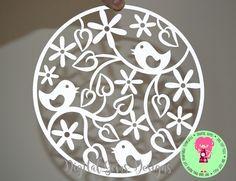 Bird Circle Papercut Template SVG / DXF Cutting by DigitalGems
