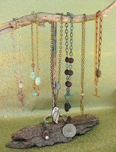 Necklace Display for silpada jewelry!/ visit my website at… Wood Jewelry Display, Jewelry Stand, Jewellery Storage, Jewelry Organization, Diy Necklace Display, Jewellery Displays, Necklace Holder, Earring Display Stands, Craft Fair Displays