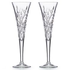 Shimmer Crystal Flute Pair | Lenox Reed & Barton, Champagne Glasses, Floral Motif, Flute, Martini, Pots, Farmhouse, Romantic, Dishes