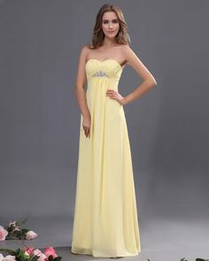 Sweetheart Chiffon Ruffle Floor Length Bridesmaid Dress With Beading