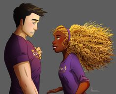 Frank Zhang and Hazel Levesque. The first time Hazel sees Frank after the blessing of Mars