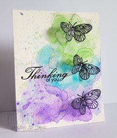 In preparation for Kindness day - making cards for hospitalized kids HLS March Watercolour Challenge ~ Kylie is Addicted to Stamps Handmade Greetings, Greeting Cards Handmade, Butterfly Cards Handmade, Watercolour Challenge, Karten Diy, Paint Cards, Watercolor Cards, Watercolour Pens, Watercolour Butterfly