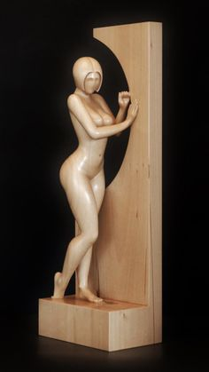 Nude Woman Wood Sculpture BY THE WINDOW by jakobarts on Etsy