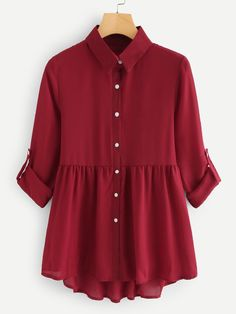 roll up sleeve dip hem shirt dress. Hijab Fashion Summer, Pakistani Fashion Casual, Indian Fashion Dresses, Pakistani Dress Design, Girls Fashion Clothes, Fashion Outfits, Stylish Dresses For Girls, Stylish Dress Designs, Girls Frock Design