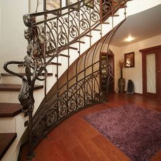 A curved wrought iron railing - entrance gate and stairs Interior Railings, Interior And Exterior, Entrance Gates, Blacksmithing, Wrought Iron, Stairs, Home Decor, Blacksmith Shop, Stairway